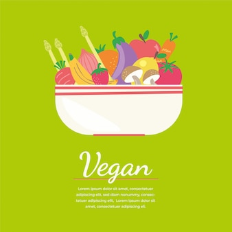 Banner vegano colorido con iconos vegetales plana