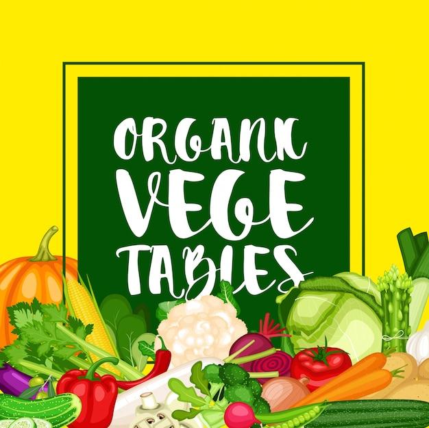 Banner de vegetales orgánicos con fondo de vegetales de diseño plano