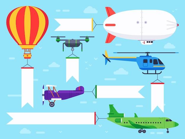 Banner de vehículos aéreos. signo de helicóptero volador, mensaje de banner de avión y conjunto plano de anuncio vintage zeppelin