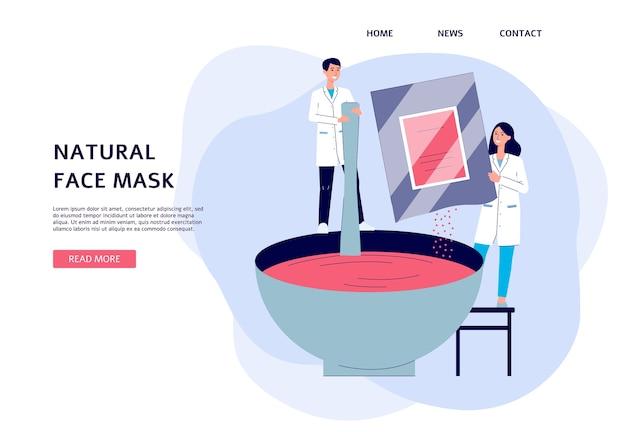 Banner para vender producción de cosmetología con personaje de dibujos animados de dermatólogos, ilustración. tienda de cosmetología para el cuidado de la piel o fondo del sitio de la clínica.