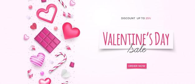 Banner de venta 3d lindo día de san valentín