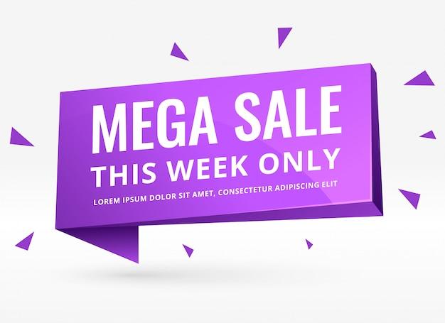 Banner de venta 3d púrpura para promoción y marketing