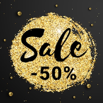 Banner de venta 50 por ciento de descuento con destellos de brillo brillante y cuentas doradas sobre fondo negro.