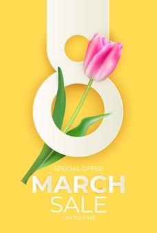 Banner de venta de 8 de marzo con fondo de tulipán