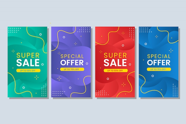 Banner de venta abstracto líquido colorido