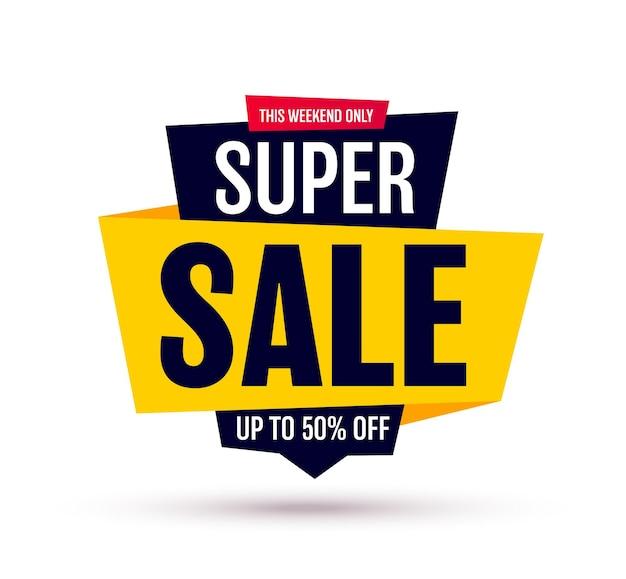 Banner de venta aislado en etiqueta de super venta de fondo blanco