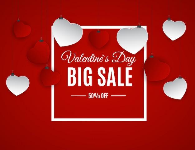 Banner de venta de amor y sentimientos de san valentín