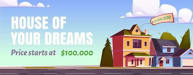 Banner de venta de bienes raíces. concepto de compra de la casa de los sueños.