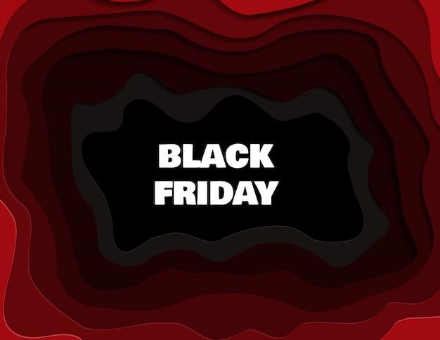 Banner de venta de black friday para tiendas y redes sociales en estilo de corte de papel