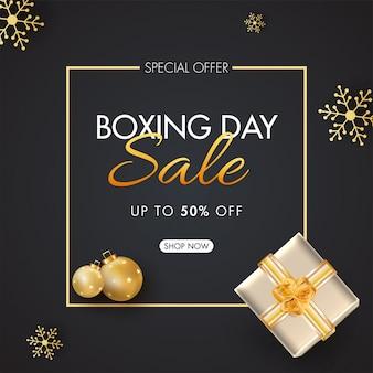 Banner de venta de boxing day con oferta de 50% de descuento