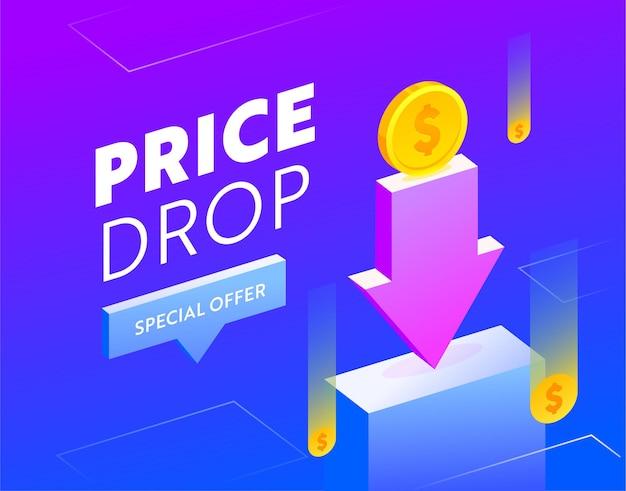 Banner de venta de caída de precio con tipografía. bandera azul con monedas y flecha para descuento en compras
