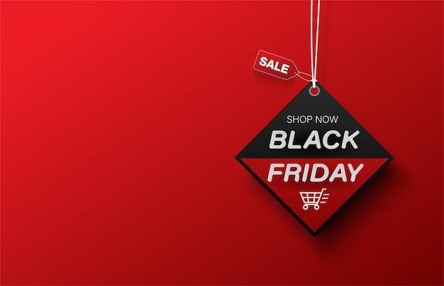 Banner de venta de carro de compras de etiqueta de viernes negro cuadrado sobre fondo rojo.