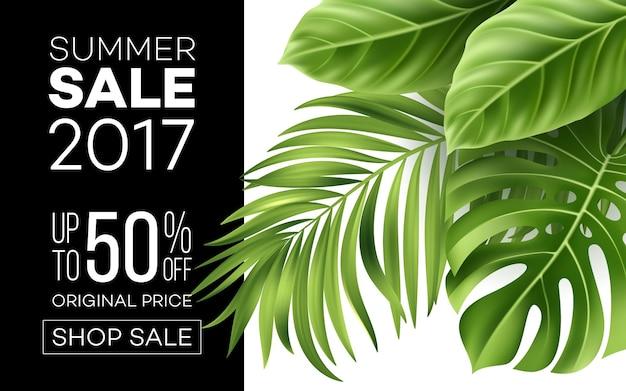 Banner de venta, cartel con hojas de palmera, hoja de selva y letras escritas a mano. fondo floral de verano tropical.