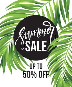 Banner de venta, cartel con hojas de palmera, hoja de selva y letras escritas a mano.