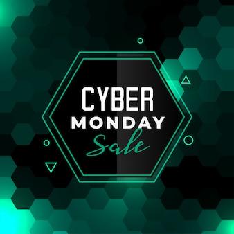 Banner de venta de ciber lunes en estilo hexagonal