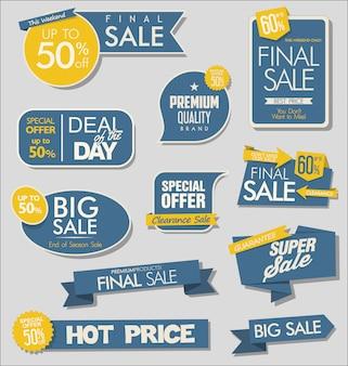 Banner de venta y colección de etiquetas de ofertas especiales.