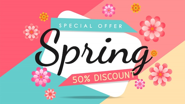 Banner de venta de colores de primavera