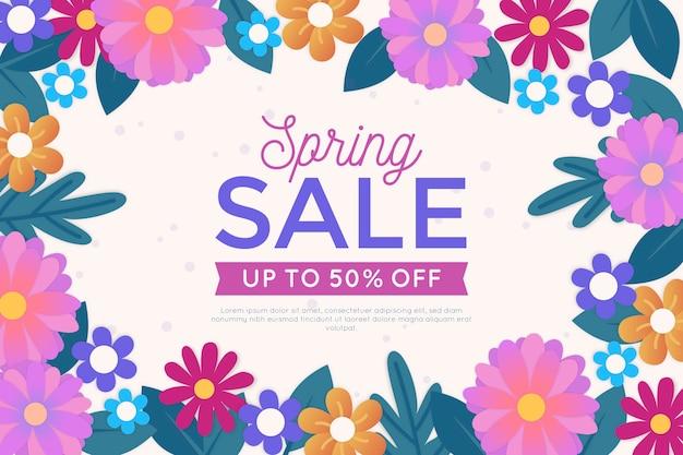 Banner de venta colorida primavera en estilo de papel