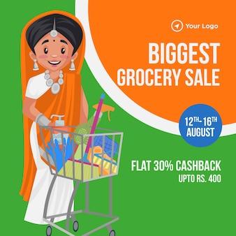 Banner de venta de comestibles más grande con dibujos animados
