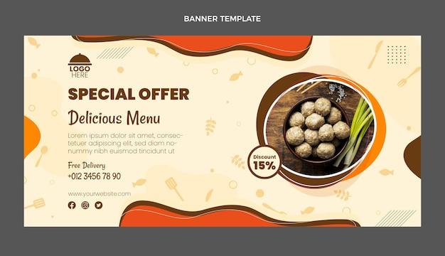 Banner de venta de comida de diseño plano