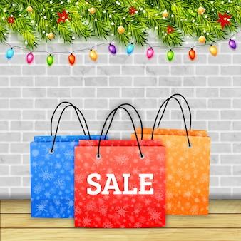 Banner de venta de compras navideñas