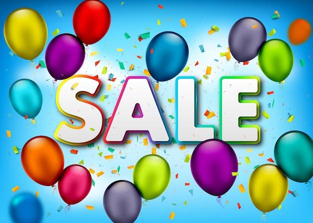 Banner de venta con confeti y globos aerostáticos