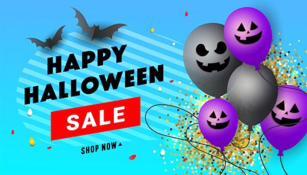 Banner de venta creativa de feliz halloween con globos de cara de miedo, murciélagos negros, dulces y decoración de confeti dorado