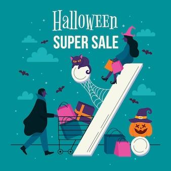 Banner de venta cuadrado de halloween dibujado a mano