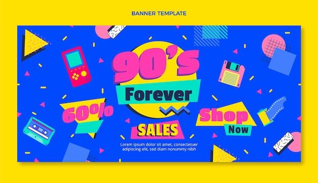 Banner de venta de cumpleaños nostálgico de diseño plano de los años 90