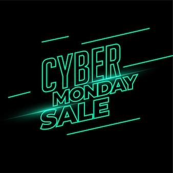 Banner de venta de cyber monday en estilo de luz de neón