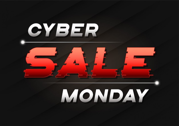 Banner de venta de cyber monday con un texto de trineo glitch.