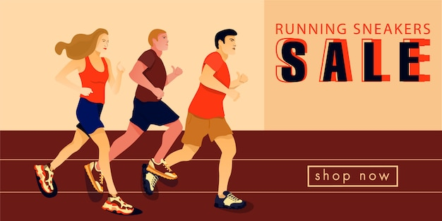 Banner de venta con deportista corriendo en zapatillas.