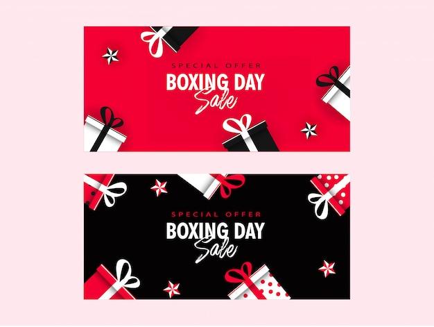 Banner de venta del día del boxeo decorado con cajas de regalo y estrellas