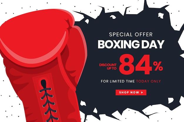 Banner de venta de día de boxeo de diseño plano