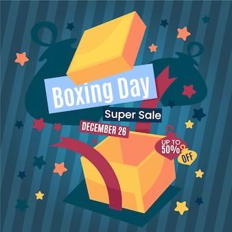 Banner de venta de día de boxeo plano