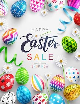 Banner de venta del día de pascua con coloridos huevos de pascua pintados