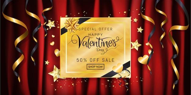 Banner de venta del día de san valentín, caligrafía en caja de regalo dorada con cinta