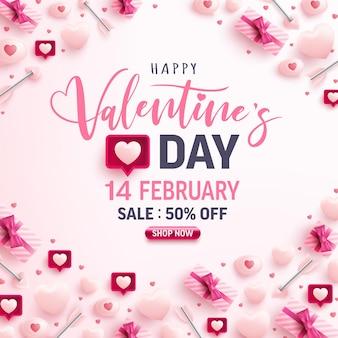 Banner de venta del día de san valentín con corazones dulces, bocadillo y elementos de san valentín en rosa
