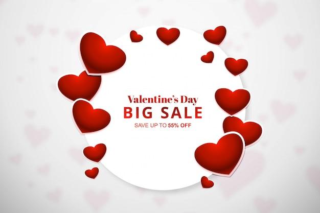 Banner venta de día de san valentín con corazones