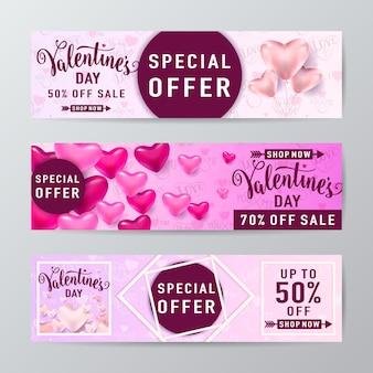 Banner de venta del día de san valentín con globos de corazón, línea de rombo y marco redondo y texto de letras