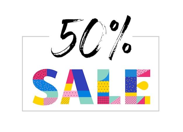 Banner de venta con diseño geométrico colorido de memphis