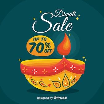 Banner de venta diwali dibujado a mano