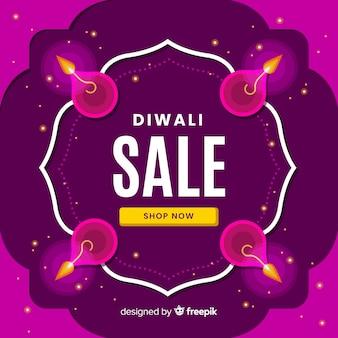 Banner de venta de diwali de diseño plano