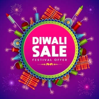 Banner de venta de diwali, oferta de descuento de festival, fondo de galletas de fuego de venta de bamber