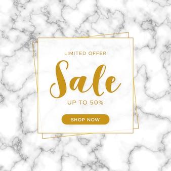 Banner de venta elegante con textura de mármol.
