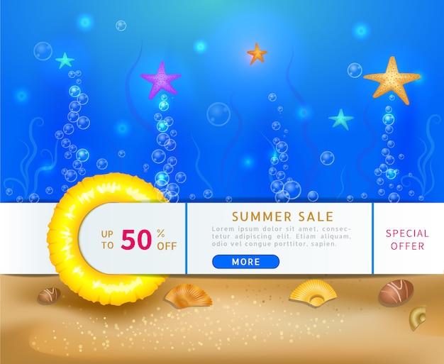 Banner de venta con escena submarina profunda con estrellas de mar y burbujas