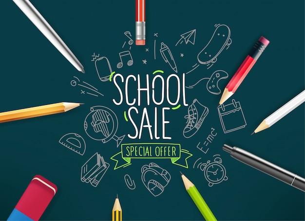 Banner de venta escolar, con elementos de doodle