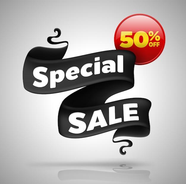 Banner de venta especial cincuenta por ciento de descuento