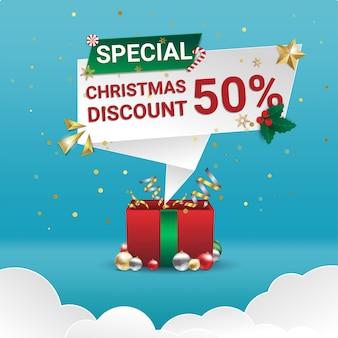 Banner de venta especial de navidad con descuento