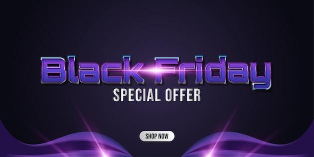 Banner de venta especial de viernes negro con fondo oscuro y luces brillantes